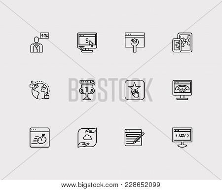 poster of Seo Icons Set. Apps Development And Seo Icons With Page Content, Page Load Speed And Seo Consulting.
