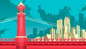 Vector Illustration Of Abstract City Metropolis Bridge Over The River Or Canal poster