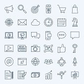 Line Marketing Icons. Vector Set Of Thin Outline Digital Promotion Symbols. poster