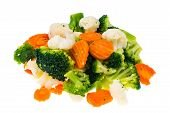 Mix Of Frozen Summer Vegetables In Heap Isolated On White Background. Studio Photo poster