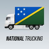 Symbol Of National Delivery Truck With Flag Of Solomon Islands. National Trucking Icon And Flag Desi poster