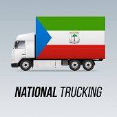 Symbol Of National Delivery Truck With Flag Of Equatorial Guinea. National Trucking Icon And Flag De poster
