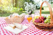 Healthy Food And Accessories Outdoor Summer Or Spring Picnic, Picnic Wicker Basket With Fresh Fruit, poster