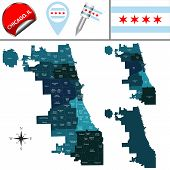 Vector Map Of Chicago With Named Community Areas And Travel Icons poster