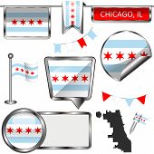 Vector Glossy Icons Of Flag Of Chicago On White poster