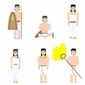 Постер, плакат: Ancient Egypt Rich With His Wife And Servants In Flat Style Ancient Egypt Builders At Work Illustrat