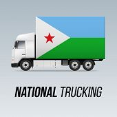 Symbol Of National Delivery Truck With Flag Of Djibouti. National Trucking Icon And Djiboutian Flag poster