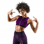 Sporty Girl  Showing Gesturing With Fingers Rock And Roll. Photo Of Cool Funny African Girl Isolated poster