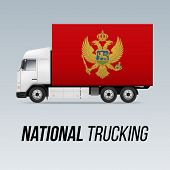 Symbol Of National Delivery Truck With Flag Of Montenegro. National Trucking Icon And Montenegrin Fl poster