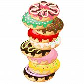 Stack Of Donuts. Donut With Mint Green Frosting And Pink Strawberry Ball Sprinkles, Dark Chocolate M poster