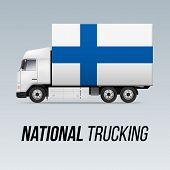 Symbol Of National Delivery Truck With Flag Of Finland. National Trucking Icon And Finland Flag poster