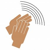 Clapping Hands On A White Background. Vector Illustration poster
