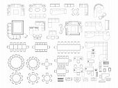 Top View Of Set Furniture Elements Outline Symbol For Dining Room, Office, Working, Living Room And  poster