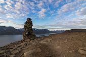 Midnight Sun, Night View Of Adventfjorden And Longyearbyen From The Top Of Platafjellet, Plata Mount poster