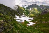 Valley With Snow In Summer Mountains. Gorgeous Mountainous Landscape Of Carpathians. Rocky Cliffs An poster
