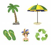 Brazil, Country, Umbrella, Beach . Brazil Country Set Collection Icons In Cartoon Style Vector Symbo poster