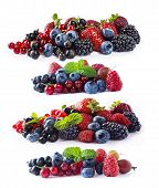 Set Of Fresh Fruits And Berries Isolated A White Background. Ripe Blueberries, Blackberries, Currant poster