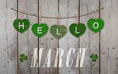 Hello March Written On Hanging Green Hearts And Weathered Wooden Background, With Clover poster