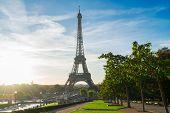 Eiffel Tower Landmark From Trocadero At Sunrise, Paris, France poster