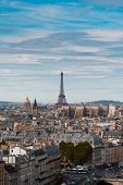 Skyline Of Paris City With Eiffel Tower Landmark From Above In Soft Morning Light, France poster
