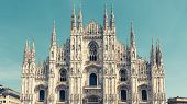 Milan Cathedral (duomo Di Milano), Italy. Milan Cathedral Is The Fifth Largest In The World. Panoram poster