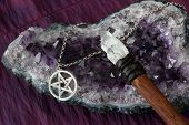 picture of pentacle  - close up of wiccan objects  - JPG