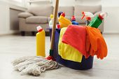 Bucket With Sponges, Chemicals Bottles, Mopping Stick, Rubber Gloves And Towel. Household Equipment  poster