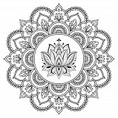 Circular Pattern In The Form Of A Mandala. Henna Tatoo Mandala. Mehndi Style. Decorative Pattern In poster