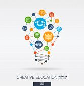 Education Integrated Thin Line Web Icons. Idea, Solution In Light Bulb Shape. Digital Network Concep poster