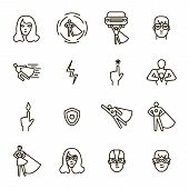 Super Hero Black Thin Line Icon Set Include Of Power, Costume, Mask And Heroic Person. Vector Illust poster