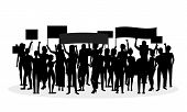 Cartoon Silhouette Black Protesting Crowd Demonstration, Picket Or Conflict Action Culture Concept O poster