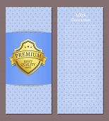 100 Guarantee Premium Best Quality Poster With Text And Golden Label Award Emblem Isolated On Blue.  poster
