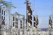 Power Switching Devices At A High-voltage Substation. Industrial Electrical Equipment. Power Supply  poster
