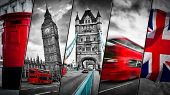 Collage of the symbols of London, the UK. Red buses, Big Ben, red postbox, and the Union Jack flag.  poster