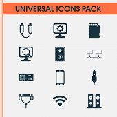 Hardware Icons Set With Audio Speaker, Music Speaker, Wifi And Other Memory Card Elements. Isolated  poster
