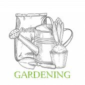 Hand Drawn Gardening Banner. Watering Can, Fertilizer, Hyacinth And Garden Tool In Sketch Style. Vec poster