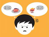 Brain Cartoon Characters Vector Illustration Image Showing How Man Has Confused Emotion When Brains  poster