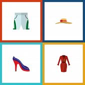 Icon Flat Clothes Set Of Shorts, Sandal, Woman Hat Vector Objects. Also Includes Cloth, Shoes, Sanda poster
