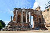 View Of Ancient Wall And Columns Of Teatro Antico Di Taormina, Ancient Greek Theater In Taormina Cit poster