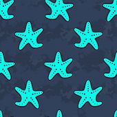 Cute Kids Starfish Pattern For Girls And Boys. Colorful Starfish On The Abstract Background Create A poster
