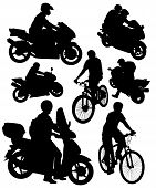 Постер, плакат: силуэты мотоциклов и велосипедов