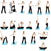 foto of pregnancy exercises  - Pregnant woman fitness collage isolated on white - JPG