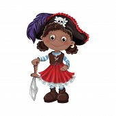 Cute Cartoon Girl Pirate Vector Illustration. Kids Pirates. poster