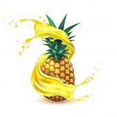 Juice Splash With Pineapple Slice Realistic Vector. 3d Ananas Fruit Liquid, Summer Tropical Vacation poster