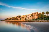Charleston, South Carolina, USA homes along The Battery. poster