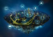 Fantasy Island Floating In The Air With Smart City And Wireless Communication Network , Smart City A poster