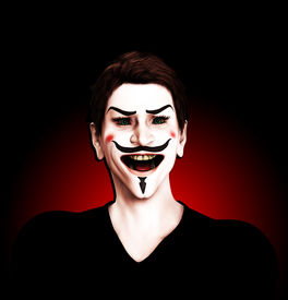 stock photo of guy fawks  - Close up view of an insane Guy Fawkes - JPG