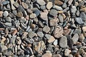 Texture Of  Small Natural Stone. Background Of Gray Crushed Stone And Gravel. poster