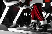 Authentic Santa Claus Training On Treadmill In Modern Gym, Closeup poster