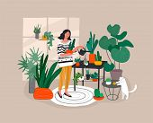Girl Caring For House Plants In Urban Home Garden With Cat. Daily Life And Everyday Routine Scene By poster